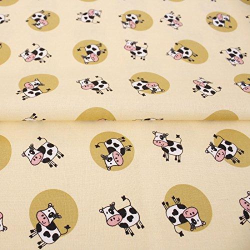 Hans-Textil-Shop Stoff Meterware Kühe Punkte Gelb Grün