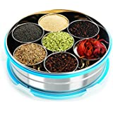 Steel Lock Stainless Steel Spice Container/ Masala Dabba With Stainless Steel Wati, Silver