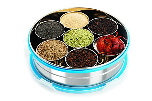 Steel Lock Stainless Steel Spice Container/ Masala Dabba With Stainless Steel Wati, Silver  available at amazon for Rs.679