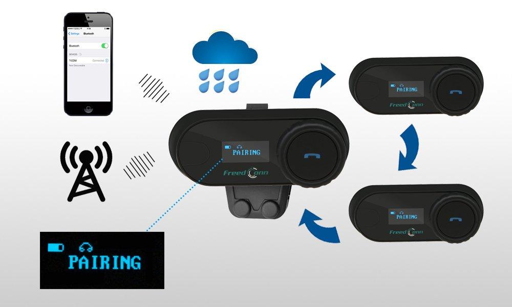 579ca8333d45e Freedconn TCOM-SC Moto Intercom Oreillette Bluetooth Casque de Moto  Interphone intercom headsets avec GPS, Radio FM, Ecran LED
