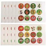10 feuilles / ensemble de Noël autocollants numéros de Noël 1-24 calendrier de l'avent autocollants biscuits fête bonbons cachetage autocollant sac boîte-cadeau embellissements décor paquet étiquettes