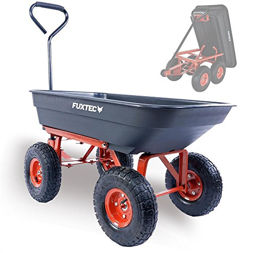 Fuxtec Kippwagen FX-KW2175 bis zu maximal 300kg Zuladung - max 150 kg bei gekippter Funktion, Transportwagen mit geschlossener Ladefläche ideal als Gartenkarre für ihre Geräte, inkl. großer Lufträder (Wagen-räder Und Reifen)