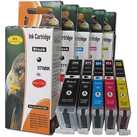 ESMOnline 5 comp. XL Cartuchos de impresora para Canon Pixma MG 5700 5750 5751 5752 5753 6800 6850 6851 6852 6853 7700 7750 7751 7752