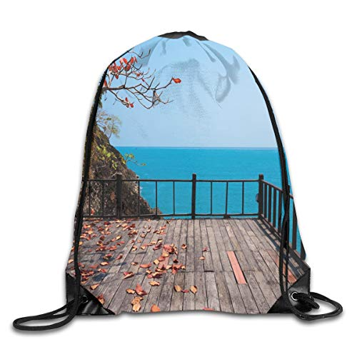 Jebnpse Printed Drawstring Backpacks Bags,Terrace Rock On The Sea with Autumn Leaves Branches and Trees Nature,Adjustable String Closure -