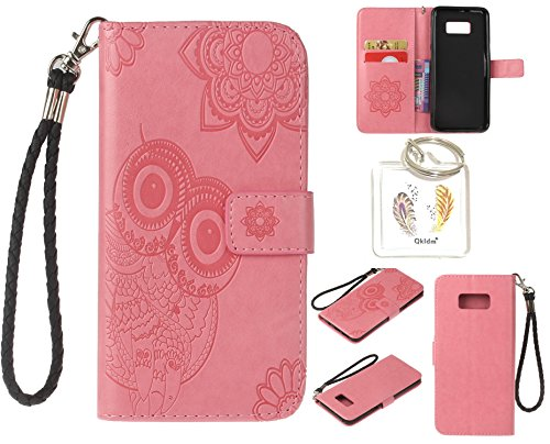 Preisvergleich Produktbild für Samsung Galaxy S8+ S8 Plus PU Leder Silikon Schutzhülle Handy case Book Style Portemonnaie Design für Samsung GalaxyS8+ S8 Plus + Schlüsselanhänger ( RDX (1)