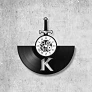 Horloge murale en vinyle 33 tours fait-main/thème kaamelott, serie, tv, roi arthur, guenièvre