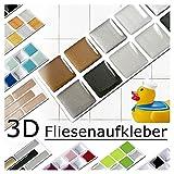 Grandora 7er Set 25,3 x 3,7 cm kupfer dunkelgrau silber Fliesenaufkleber Design 6 Mosaik 3D-Effekt Aufkleber Küche Bad Fliesendekor selbstklebend W5288