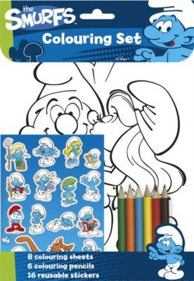 The Smurfs A4 Sheets Coloured Pencils & Stickers Childrens Colouring Set