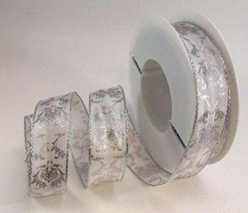 Best. Luxus Kabel Weiß/Silber Jaquard Design Band 25mm oder 40mm x 1m Schnitt von Rolle, ideal für Geschenkverpackungen. Schnelle Service, große Qualität, ausgezeichneter Wert für Geld. Versandkostenfrei innerhalb UK., 25 mm (Lurex-kabel)