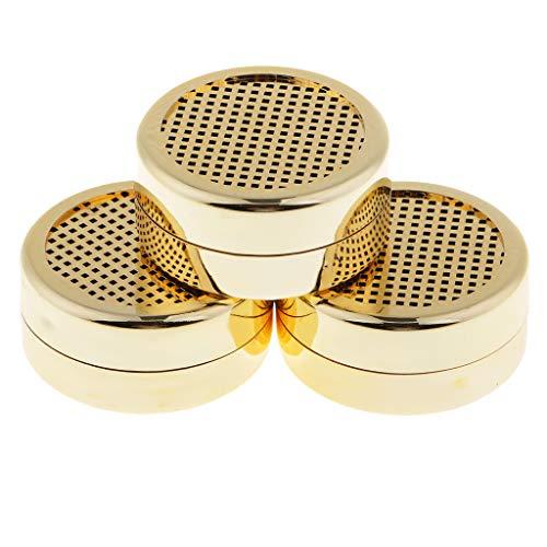 P Prettyia 3x Scatola Umidificatore Rotondo Portatile Accessori Per Sigari Fumatori Plastica Oro