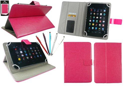 emartbuy Packung mit 5 Doppelfunktion Eingabestift +Universalbereich Hot Rosa Multi Winkel Folio Wallet Tasche Etui Hülle Cover mit Kartensteckplätze Geeignet für I.onik TP - 1200QC 7.85 Inch Tablet