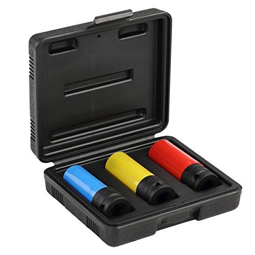 GEDORE red Kraftschrauber Steckschlüssel-Satz 1/2″ 3-teilig mit Schonhülse 17, 19 & 21 mm perfekt für den Reifenwechsel
