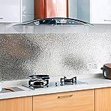 KINLO 2 Rolle 0.61 x 5 m Aluminium Folie Aufkleber Küchen Selbstklebende Küchenfolie Hitzebeständig Tapete Öl-Resistent Wasserdicht Anti-Schimmel DIY Möbel Folie für Schrank, Möbel, Tische Typ-A