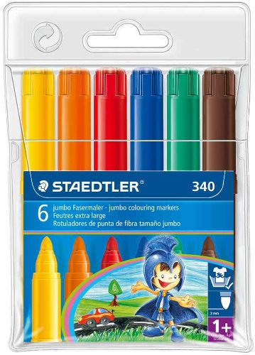 Staedtler Noris Club 340       Edition Mars and Marsy       Pack 6       Plastic Large Module Design for boys Assorted Colours