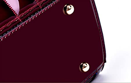 Yan Show Quilted Genuine Leather Double Handled Patent Ladies Tote Grab Bag:  Amazon.co.uk: Luggage