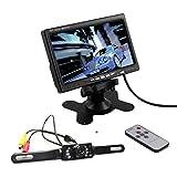 "Tera® KFZ 7"" Zoll TFT LCD Auto Monitor Rückspiegel Bildschirm mit IR Fernbedienung und E322 Funk Rückfahrkamera"