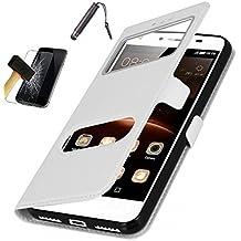 CEKA Samsung Galaxy A5(2016) [YDT] Coque Étui - Magnétique View avec Fenêtre Etui Cuir Coque housse et Stand + stylet + verre trempé pour Samsung Galaxy A5(2016) - BLANC
