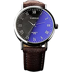 YaZhuoLun Herren Armbanduhr Quarzuhr Legierung PU-Leder Wasserdicht Uhren Uhr Geschäftsuhr(Braun)