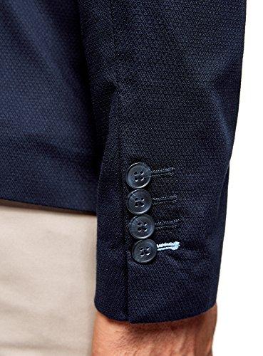 oodji Ultra Herren Sakko aus Strukturiertem Stoff mit Zwei-Knopf-Verschluss Blau (7900J)