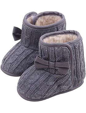 Bebe Schuhe des Nino–SODIAL (R) Trinken Bowknot weiche Sohle Winter warme Schuhe Stiefel (grau, 11cm)