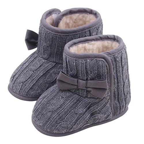 TOOGOO(R) Schleife Baby Weichbesohlte Schuhe Warme Schuhe Winter Stiefel (braun, 13cm) Grau
