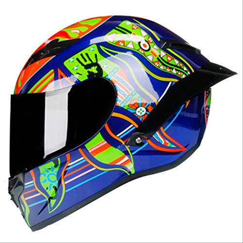 DXQY Motorradhelm Hochwertige Carbon Malerei Full Face Motorradhelm Racing Helm Motocross Off Road Xxl Champagner Integral Medium Profile Mount