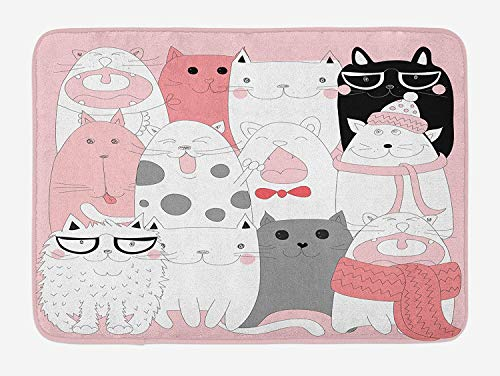 KLYDH Cat Bath Mat, Cute Cartoon Kittens Collection Funny Smiling Glasses Scarfs Doodle Humor, Plush Bathroom Decor Mat with Non Slip Backing, Pale Pink White Black,Size:19.6X31.4 inches,50cmX80cm -