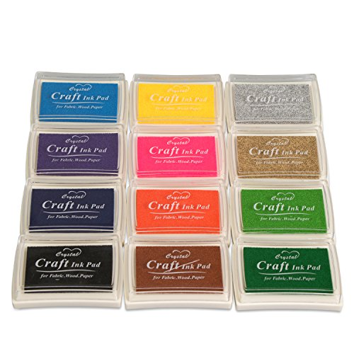 Stempelkissen-Set 12 Bunte Farben - Kissengröße ca. 7 x 5 x 2 cm - Kreative Stempelkissen zum Scrapbooking und Basteln