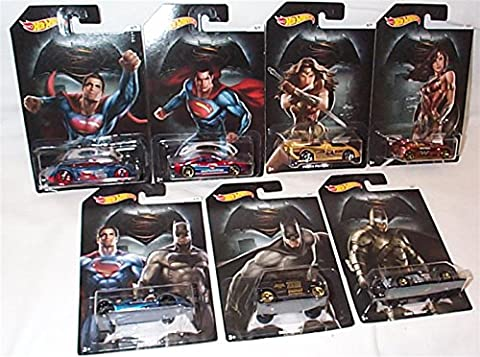hotwheels batman vs superman dawn of justice complete set containing all 7 cars twin mill, rockster, mad manga, covelight, muscle tone, power pistons & tantrum 1.50 scale