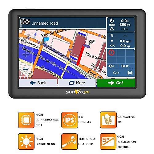 5-Zoll-Auto GPS-Navigation SAT NAV mit IPS & hohe Helligkeit (unter  Sonnenlicht in jeder Richtung gesehen) kapazitive Touch-Panel UK & Full  Europa