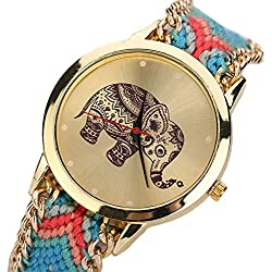 WINWINTOM Elephant Pattern Weaved Rope Bracelet Wrist Watch Red+Blue