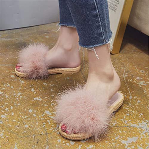 HULIMAOSER Pelzigen Hausschuhe Frauen Flauschige Sliders Plüsch pelzigen Sommer Wohnungen süße Flauschige Hausschuhe Pink 7 -