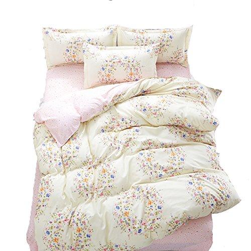 KFZ Bett Set (Zwei Full Queen King Size) [4: Bettbezug, Bettlaken, 2Kissenbezüge] keine Tröster SM Flower Love Life Cute Sunshine Printing Design für Kinder, Erwachsene, Kinder, Microfaser, Classic Flower, Pink, Twin, 58
