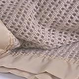 Diana Cowpe Pure 100% Wool Cellular Blanket Lightweight Luxury Satin All-Round Edging (Kingsize 230 x 260cm, Camel)