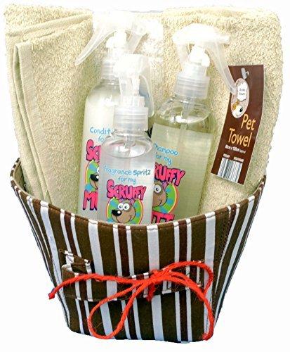 Scruffy Mutt. Hund Badezeit Pflege Geschenk set. Shampoo, Haarspülung, Spritz & Handtuch