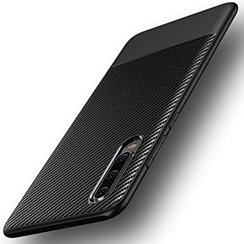 Losvick Coque Huawei P30 2019, Housse Silicone Bumper Souple[Anti-Choc Air Cushion] Cover Ultra Fine TPU [Texture Fibre de Carbone] Protection Non Slip et Anti-Rayures Etui pour P30 2019 - Noir