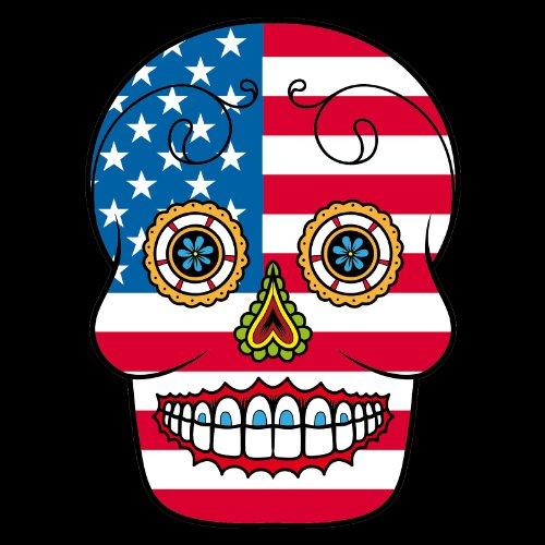 T-Shirt - Usa - Sugar Skull - Fahne - Herren - unisex Schwarz