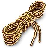 Miscly - Schnürsenkel Rund, Extrem Reißfest [3 Paar] für Arbeitsschuhe, Stiefel und Wanderstiefel - Nylon und Polyester - Ø 5 mm (160 cm, Gelb/Braun)