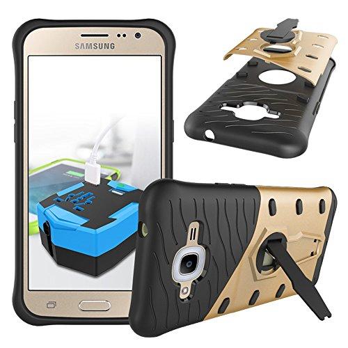 YHUISEN Galaxy J2 2016 Case, Hybrid Tough Rugged Dual Layer Rüstung Schild Schützende Shockproof mit 360 Grad Einstellung Kickstand Case Cover für Samsung Galaxy J2 2016 J210 ( Color : Red ) Gold