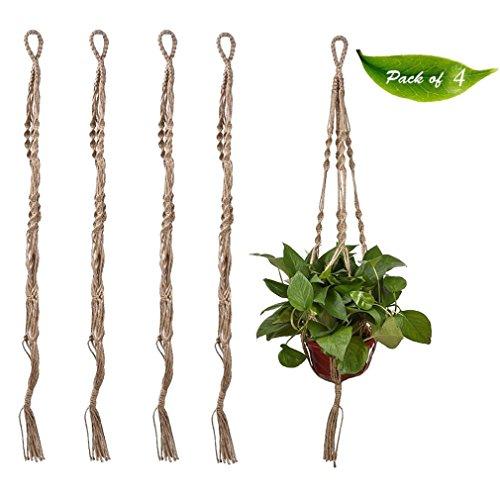 Abseed 4er Set Pflanzen Makramee Aufhänger Jute 4 Bein Blumenampel innen Außen Hängeampel Hängender