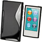 iGadgitz Dual Tone Black Durable Crystal Gel Skin (TPU) Case Cover for Apple iPod Nano 7th Generation 7G 16GB + Screen Protector