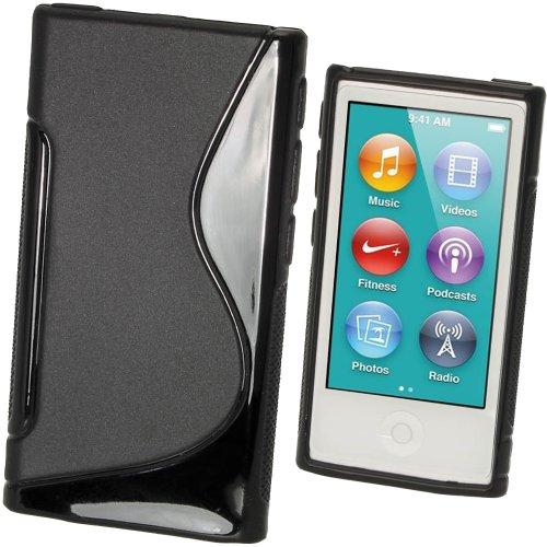 igadgitz Zweiton Schwarz Dauerhafte Kristall Gel Tasche TPU Hülle Schutzhülle Etui für Apple iPod Nano 7. Gen Generation 7G 16GB + Displayschutzfolie (7. Gen Nano Ipod Ladegerät)