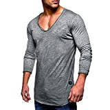 UFACE Men Tee Slim Fit V Neck Long Sleeve Muscle Cotton Casual Tops Blouse Shirts (3XL, Grau)