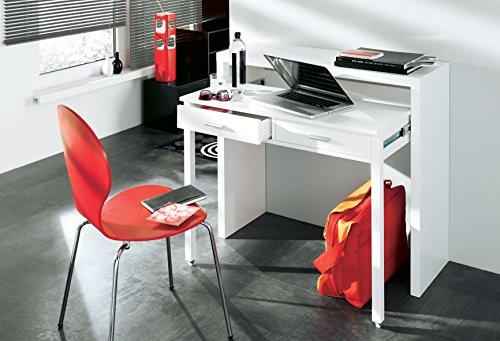 Home innovation - tavolo scrivania allungabile, console scrivania, colore bianco lucido, dimensioni: 98,6 x 86,9 x 36- 70 cm di profondità.