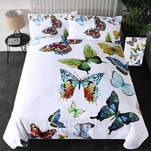 sleepwish 3Stück Flying Schmetterlinge Bettbezug Set Schmetterling Kollektion Bettwäsche Set Hypoallergen Bett Bezug Set mit Premium Mikrofaser, Polyester-Mischgewebe, As Figure, Volle Größe -