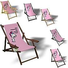 Man widerspricht dem Einhorn nicht - Liegestuhl bedruckt Balkon Garten Sonnenliege Relax Holz Terrasse, Variante:mit Armlehne. Dunkelbraun