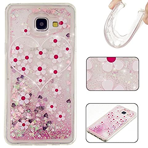 MUTOUREN Samsung Galaxy A5 (2016) A510F Liquid Glitter Case, 3D Creative Funny Quicksand Dynamic Flowing Floating Bling Shiny Sparkle Crystal Clear Transparent Plastic + TPU Protective Bumper Cover, Pink Love