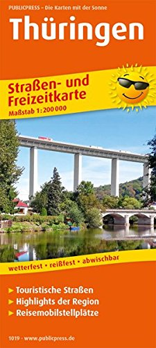 Thüringen: Straßen- und Freizeitkarte mit Touristischen Straßen, Highlights der Region und Reisemobilstellplätzen. 1:200000 (Straßen- und Freizeitkarte / StuF)