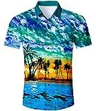 TUONROAD Camicie Uomo Hawaiane Camicia Hawaiana Stampa Fiori Maniche Lunghe O Corte