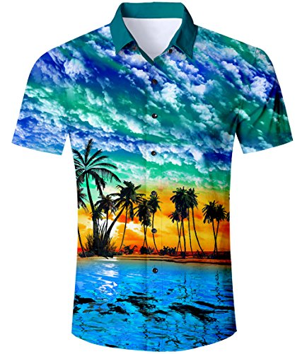 TUONROAD Hawaiihemd Herren Funny Palm Tree 3D Gedruckt Muster Bunte Funky Shirt Hemd Herren Kurzarm Sommerhemd Button Down Freizeithemden Strandhemd Hawaii Hemd Blau Männer Jungen L - Tree Print Shirt
